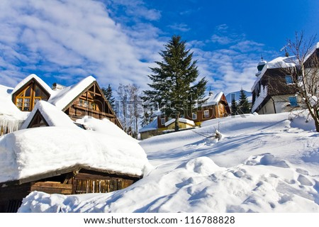 village in wintertime - stock photo