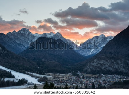 Village Mojstrana below Julian Alps - Shutterstock ID 550301842