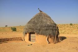 Village Mud Hut in Thar Desert, Jaisalmer, India