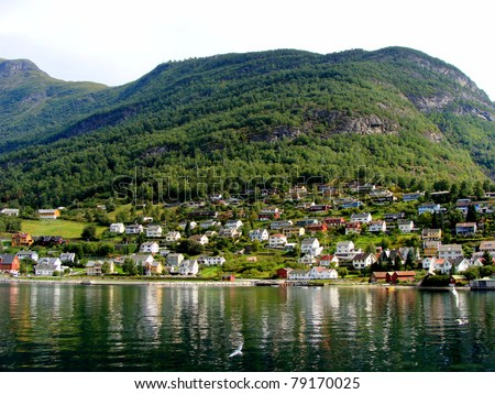 Village of Aurlandsvangen along the fjords of Norway