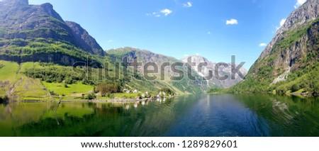 Village of Bakka and the Naeroy Fjord, Norway (Nærøyfjorden) #1289829601