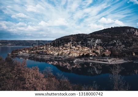Village of Bauduen, Lake Sainte-Croix-du-Verdon. Canyon du Verdon in the French Pre Alps.