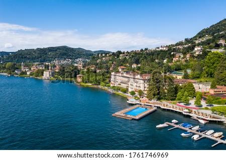 Village of Cernobbio and luxury hotel of Villa d'Este on Como lake in Italy. Foto d'archivio ©