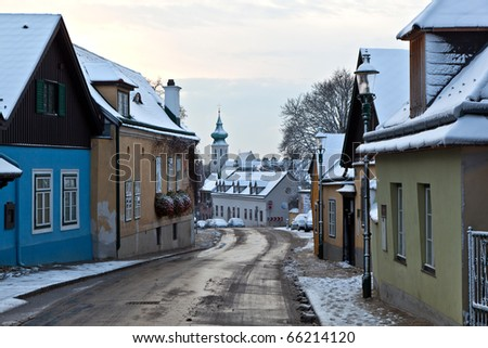 village of Grinzing in vienna in early morning light in Wintertime