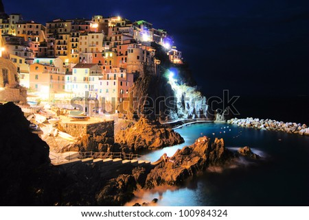 Village of Manarola, Italy on the Cinque Terre coast at night