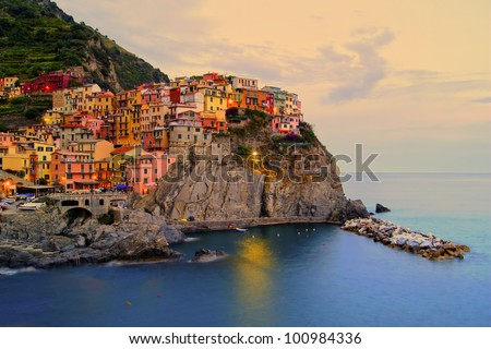 Village of Manarola, Italy on the Cinque Terre coast at sunset