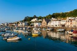 Village of Saint Aubin, Jersey, Channel Islands, UK on early summer morning.