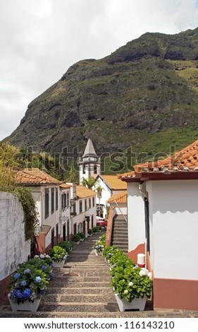 Village of Sao Vicente, church at the bottom of staircases  (Madeira)