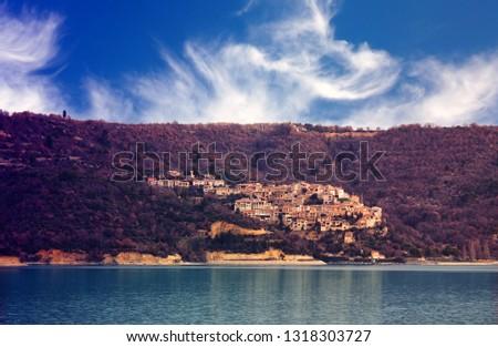 Village of St. Croix, Lake Sainte-Croix-du-Verdon. Canyon du Verdon in the French Pre Alps.