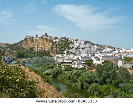 Village on a hill along a river, Arcos de la Frontera, Andalusia, Spain