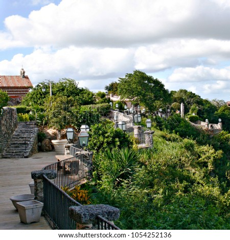 Village on a mountainside with landscape and architecture in the Dominican Republic #1054252136