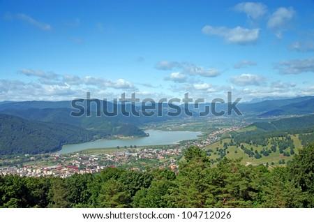 Village on Bistrita river valley in Romania