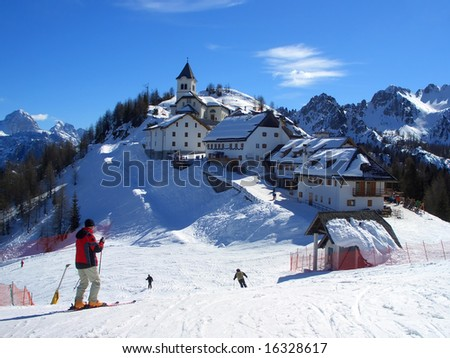 Village on top of mount Lussari in Friuli, Italy