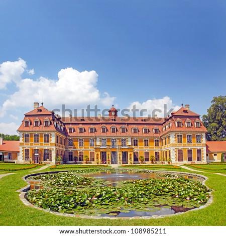 Village Rajec-Jestrebi, National cultural monument State Castle Rajec nad Svitavou in the classical style. South Moravia, Czech Republic