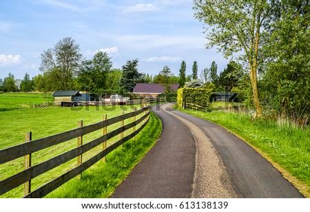 Village road in rural area landscape #613138139
