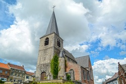 Village Ronquières in Wallonia, old church in centre, Belgium