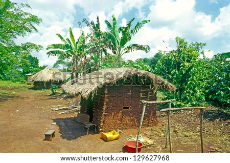 Village the located in Buikwe District in Uganda, Traditional african huts in East Africa, Uganda