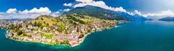Village Weggis, lake Lucerne (Vierwaldstatersee), Pilatus mountain and Swiss Alps in the background near famous Lucerne (Luzern) city, Switzerland