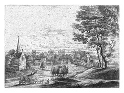 Village with a church and a covered wagon drawn by three horses.