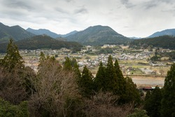 Villages along the Kumano Kodo track in Japan. Kumano Kodo is a series of ancient pilgrimage routes that crisscross the Kii Hanto, the largest peninsula of Japan.