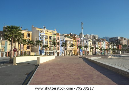Villajoyosa fishing district, traditional town on Costa Blanca,Spain