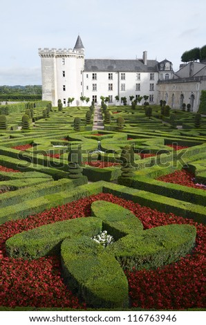 VILLANDRY, FRANCE - AUGUST 13: Castle on August 13, 2012 in Villandry, France: Garden and castle of Villandry. It was built around 1536 and rebuilding by Joachim Carvallo in the early 20th century.