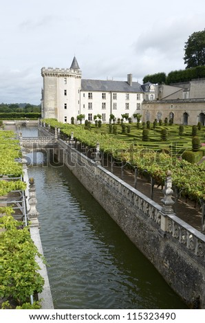 VILLANDRY, FRANCE - AUGUST 13: Castle on August 13, 2012 in Villandry: garden in the castle of Villandry. It was built around 1536 and rebuilding by Joachim Carvallo in the early 20th century