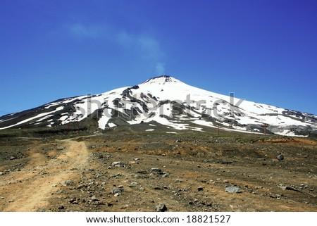 Villarrica volcano covered in snow