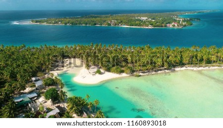 villas and houses on a pacific island in aerial view #1160893018