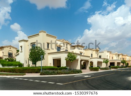Villas compound development in a bright sunny day with white clouds in the blu sky Photo stock ©