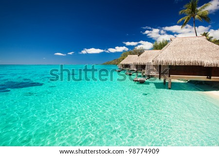 Villas on the green tropical beach with steps into water