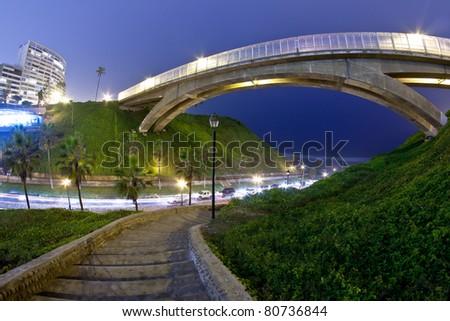 Villena bridge in miraflores, Lima Peru,  Night shot