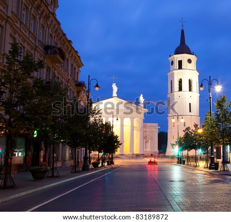 Vilnius at night, night life scene