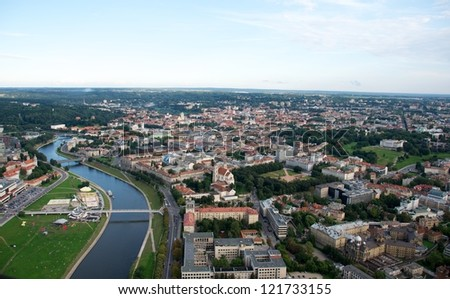 Vilnius city from the top, view to the old town, Europe - stock photo