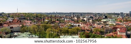 Vilnius city panoramic view with television tower.