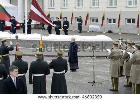 VILNIUS - FEBRUARY 16: The president of Lithuania Dalia Gribauskaite at ceremony in honour of day of independence 16 February 2010 in  Vilnius, Lithuania.