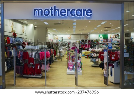 VILNIUS, LITHUANIA - DECEMBER 13, 2014: Mothercare store in xmas Panorama  market. Company was founded in London in 1961. Brand have over 1100 stores worldwide.