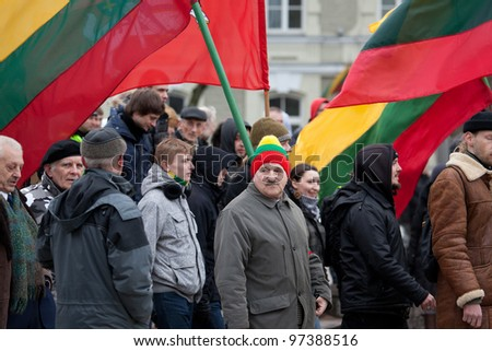 VILNIUS, LITHUANIA - MAR 11: Around one thousand people gathered in a controversial nationalist rally at Gedimino Avenue in central Vilnius on Re-Establishment of Independence Day on March 11, 2012.