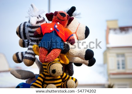 VILNIUS, LITHUANIA - MARCH 4: Knitted wares in an annual traditional crafts fair - Kaziuko fair on Mar 4, 2005 in Vilnius, Lithuania