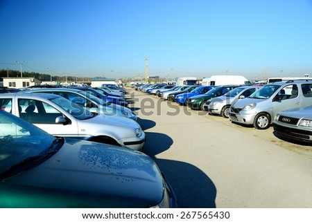 VILNIUS LITHUANIA MARCH 17 Market of second hand used cars in Vilnius city on March 17 2015 Vilnius Lithuania
