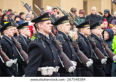 Vilnius, Lithuania - March 11, 2015: Thousands of people took part in a festive parade as Lithuania marked the 25th anniversary of its independence restoration on March 11, 2015 in Vilnius, Lithuania.