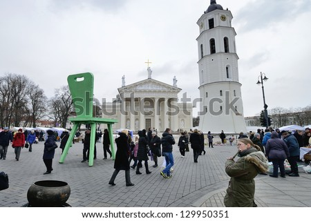 VILNIUS, LITHUANIA - MARCH 1: Unidentified peoples in annual traditional crafts fair - Kaziuko fair on Mar 1, 2013 in Vilnius, Lithuania