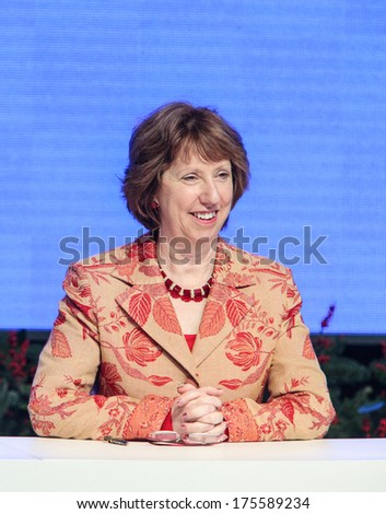 VILNIUS, LITHUANIA - NOV. 29: High Representative of the Union for Foreign Affairs and Security Policy Catherine Ashton at a during Eastern Partnership Summit in Vilnius. November 29, 2013 in Vilnius.
