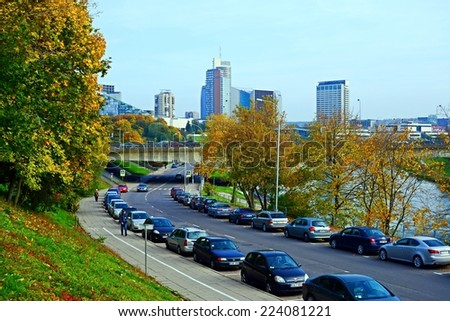 VILNIUS, LITHUANIA - OCTOBER 9: Vilnius city street, cars and skyscrapers view on October 9, 2014, Vilnius, Lithuania.