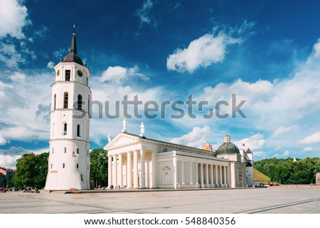 Shutterstock Vilnius, Lithuania. View Of Bell Tower And Facade Of Cathedral Basilica Of St. Stanislaus And St. Vladislav On Cathedral Square, Famous Landmark, Showplace In Sunny Summer Under Blue Sky With Clouds.