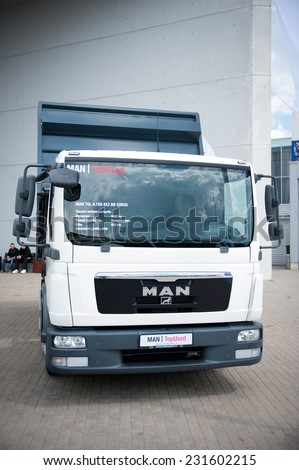 VILNIUS - MAY 9: MAN TGL 8.150 4x2 BB truck on May 9, 2014 in Vilnius, Lithuania. MAN AG, is a German mechanical engineering company. MAN supplies trucks, buses, diesel engines and turbomachinery.