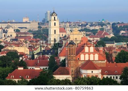 Vilnius old town cityscape, morning