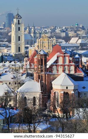 Vilnius old town cityscape, winter morning
