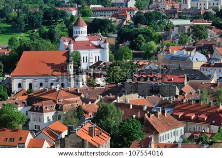Vilnius old town panorama. Summer time