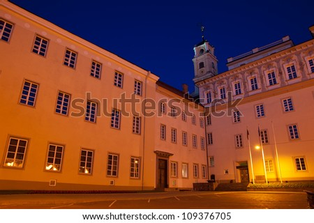 Vilnius University at night. Vilnius University is the oldest university in the Baltic states and one of the oldest in Eastern Europe. The university was founded in 1579.